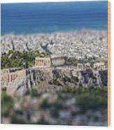 Athens, Greece. Athens Acropolis And City Aerial View From Lycavittos Hill Wood Print