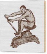 Athlete Exercising Vintage Rowing Machine Etching Wood Print