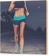 Athletic Woman Jogging Outdoors Wood Print