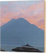 Atitlan At Sunset Wood Print