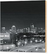 Atlanta Black And White Panorama Wood Print
