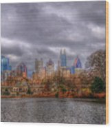 Atlanta City Skyline Georgia Usa Hdr Wood Print