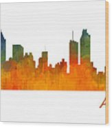 Atlanta City Skyline Hq V1 Wood Print