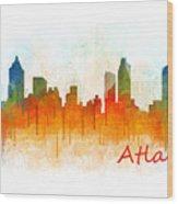 Atlanta City Skyline Hq V3 Wood Print