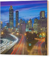 Atlanta Downtown By Night Wood Print