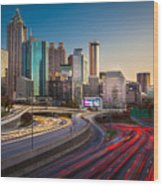 Atlanta Downtown Lights Wood Print