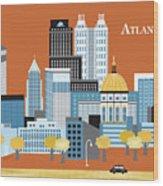 Atlanta Georgia Horizontal Skyline Wood Print