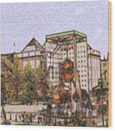 Atlanta Georgia Usa - Color Pencil Wood Print