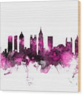 Atlanta Georgia Skyline Pink Wood Print