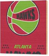 Atlanta Hawks Vintage Basketball Art Wood Print