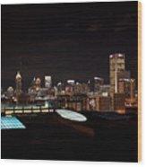 Atlanta Night Skyline Wood Print