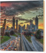 Atlanta Nite Lights Atlanta Downtown Cityscape Art Wood Print