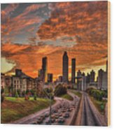 Atlanta Orange Clouds Sunset Capital Of The South Wood Print