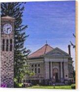 Atlanta Public Library And Clock Tower Wood Print