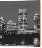 Atlanta Skyline At Night Downtown Midtown Black And White Bw Panorama Wood Print