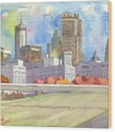 Atlanta Skyline Color Wood Print