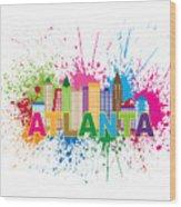 Atlanta Skyline Paint Splatter Text Illustration Wood Print