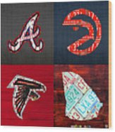 Atlanta Sports Fan Recycled Vintage Georgia License Plate Art Braves Hawks Falcons Plus State Map Wood Print