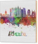 Atlanta V2 Skyline In Watercolor Wood Print