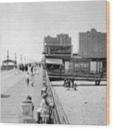 Atlantic City 1920 Boardwalk Promenade, Beach Sand, Signs Apollo Theatre, Mitzi  Wood Print