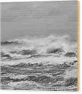 Atlantic Storm In Black And White Wood Print