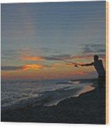 Atlantic Sunset Fishing Wood Print