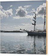 Atlantis - A Three Masts Vessel In Port Mahon Crystaline Water Wood Print