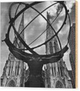 Atlas Holding The Heavens Wood Print