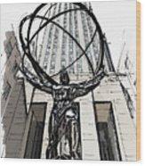 Atlas Sculpture Sketch In New York City Wood Print
