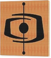Atomic Shape 1 On Orange Wood Print