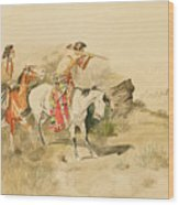 Attack On The Muleteers Wood Print
