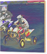 Atv Racing Wood Print
