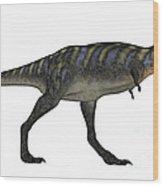 Aucasaurus Dinosaur Isolated On White Wood Print