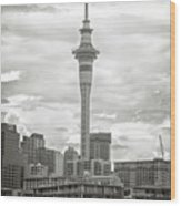 Auckland New Zealand Sky Tower Bw Texture Wood Print