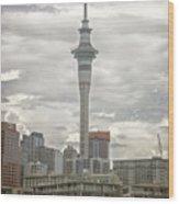 Auckland New Zealand Sky Tower Textured Wood Print