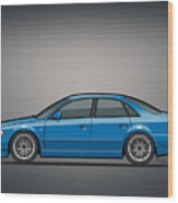 Audi A4 Quattro B5 Type 8d Sedan Nogaro Blue Wood Print