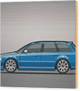Audi Rs4 A4 Avant Quattro B5 Type 8d Wagon Nogaro Blue Wood Print