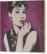 Audrey Hepburn - Breakfast Wood Print
