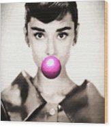 Audrey Hepburn Bubblegum Wood Print