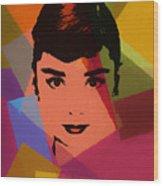 Audrey Hepburn Pop Art 1 Wood Print