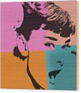 Audrey Hepburn Pop Art 2 Wood Print