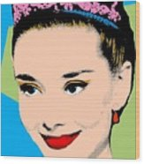 Audrey Hepburn Pop Art Blue Green Wood Print