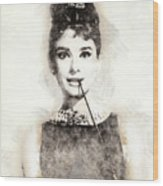 Audrey Hepburn Portrait 01 Wood Print