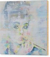 Audrey Hepburn - Watercolor Portrait.16 Wood Print