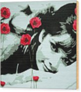 Audrey In Poppies Wood Print