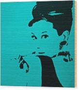 Audrey Light Blue Wood Print