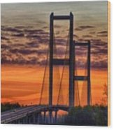 Audubon Bridge Sunrise Wood Print