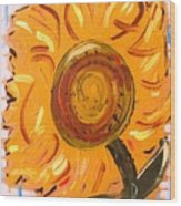 August 7 Late Day Sunflower Wood Print