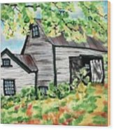August Barn Wood Print