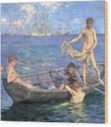 August Blue Wood Print